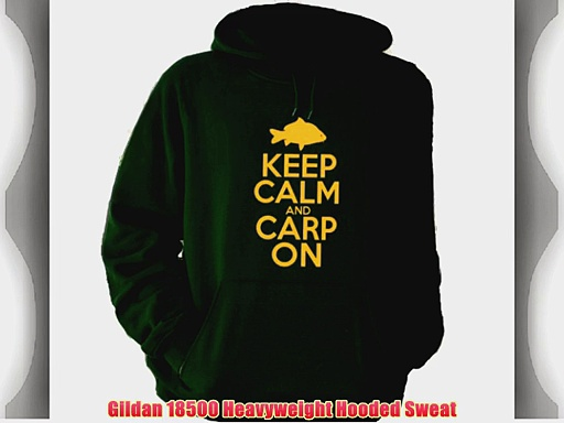 Keep Calm and Carp On Hoodie various Colours (Large Forest Green Hoodie with Yellow Print)