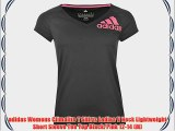 adidas Womens Climalite T Shirts Ladies V Neck Lightweight Short Sleeve Tee Top Black/Pink