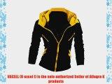 Allegra K Mens Double Zipped Long Sleeve Stand Collar Hoodie Black Yellow M