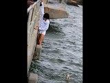 Un homme sauve un chien de la noyade (Man saves a dog)