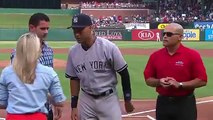 The Texas Rangers honor New York Yankees shortstop Derek Jeter with a farewell gift