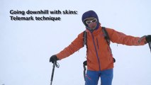 Ski touring - Downhill skiing with skins on snow plough style