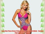 Sexy One Piece Cross Print Monokini Swimsuit Bikini - Fuchsia Pink Cheetah - Medium