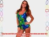 Low Cut Ruched Floral Swimwear One Piece Bathing Suit Scoop Neck Swimsuit S M L