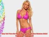 Sexy Two Piece Hot Halter Rhinestone Low Rise Womens Bikini Swimsuit - Orchid - Large
