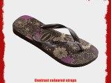 Havaianas Spring Printed Thong Flip Flops Dark Brown Metallic - UK 6/7 - BR 39/40 - EU 41/42