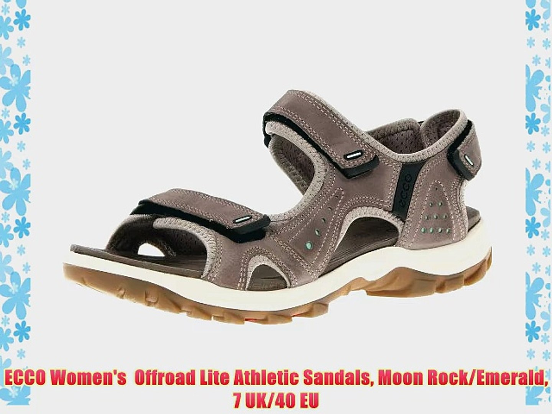 ECCO Women's Offroad Lite Athletic Sandals Moon RockEmerald 7 UK40 EU