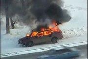 Страшная авария и пожар на дороге.