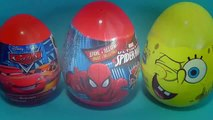 Disney PIXAR Cars surprise egg MARVEL Spider Man surprise egg Nickelodeon SpongeBob surpri