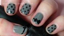Easy Nail Art - Bow and Polka Dot Design on Short Nails   |  ArcadiaNailArt
