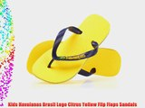 Kids Havaianas Brasil Logo Citrus Yellow Flip Flops Sandals