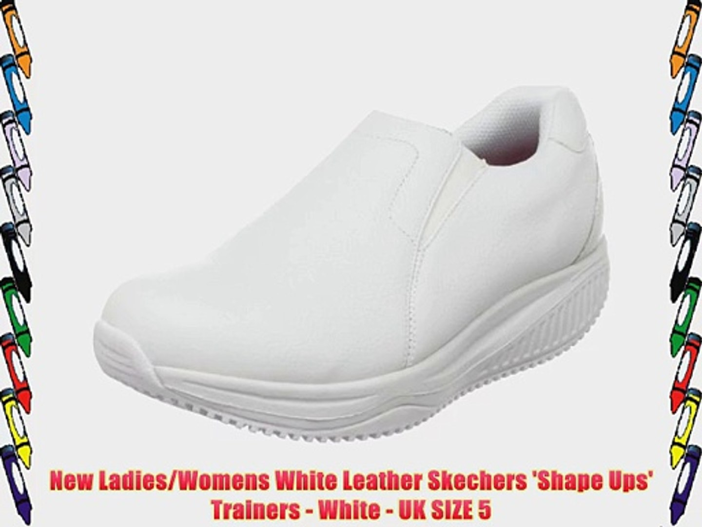 sells discount sale buying new New Ladies/Womens White Leather Skechers 'Shape Ups' Trainers ...