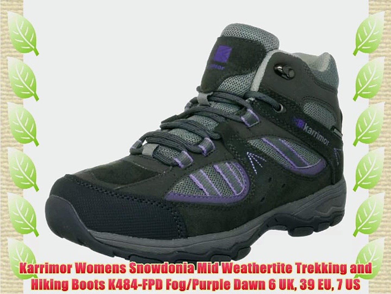 55cf41aebd7 Karrimor Womens Snowdonia Mid Weathertite Trekking and Hiking Boots  K484-FPD Fog/Purple Dawn