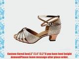 Abby Q-6119 Womens Latin Tango Cha-cha Ballroom Party 2/2.4/3.2 Custom Heel Dance Shoes Gold