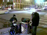 Drum and Sax Players Grooving on Street Indianapolis, IN