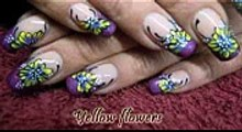 Yellow flowers on a purple french nailart
