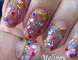 Christmas Nail Art Tutorial   Christmas Lights xmas Holiday Glitter Rhinestone nail Design