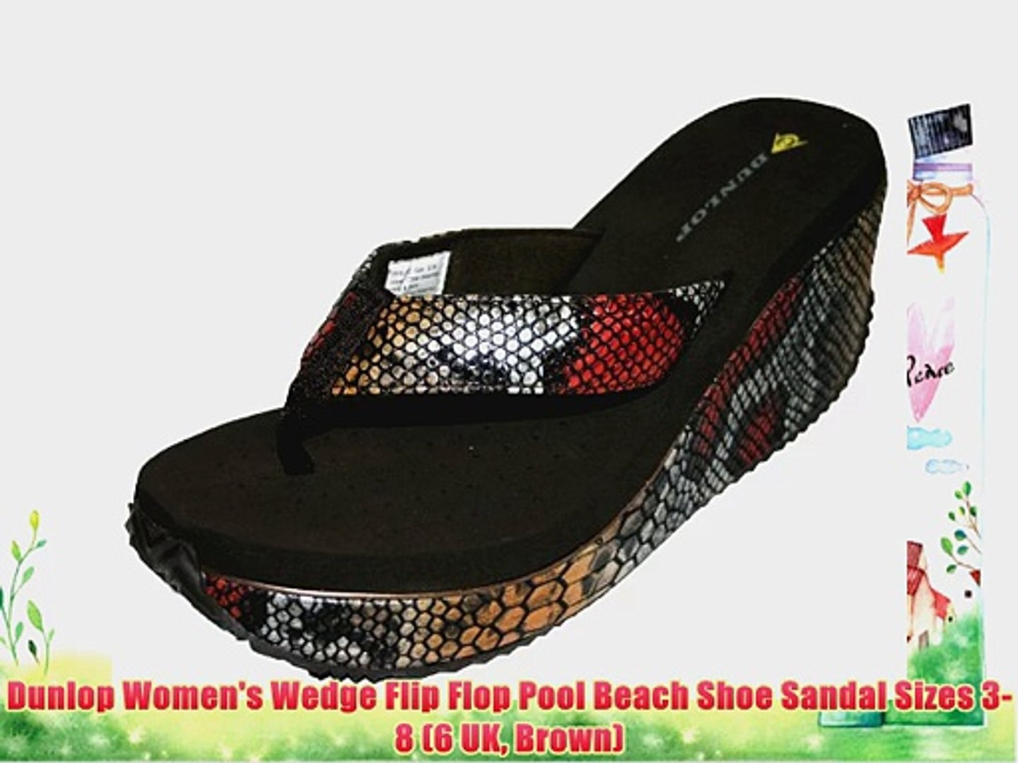 Dunlop Ladies Womens Slip On Open Toe Wedge Sandals Summer Shoes Sizes 3-8