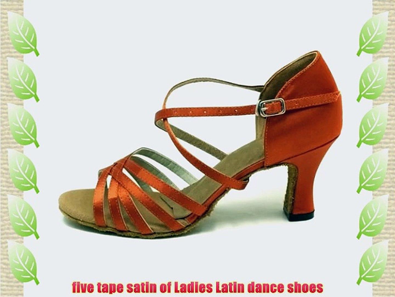 Orange/black/red/bronze/Apricot five tape satin of Ladies Latin dance shoes (EU36/23.5CM Apricot)