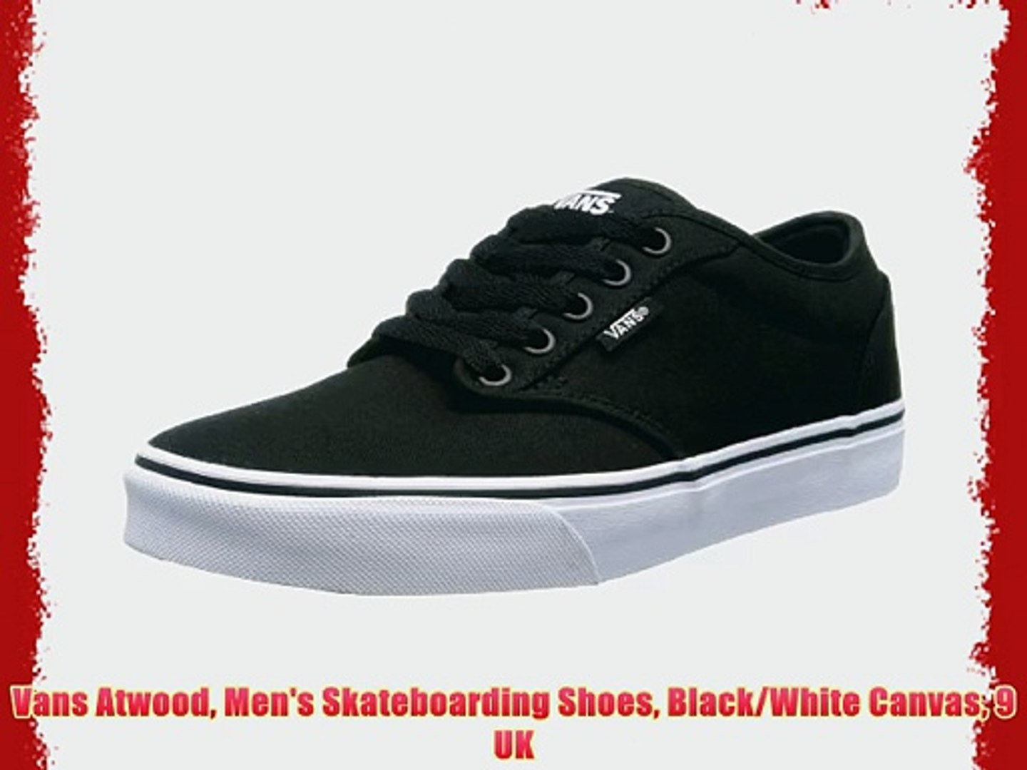 Vans Atwood Men's Skateboarding Shoes BlackWhite Canvas 9 UK