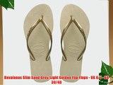 Havaianas Slim Sand Grey/Light Golden Flip Flops - UK 6/7 - BR 39/40