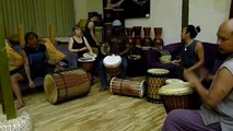 Koredjuga with Guinean master drummer M'Bemba Bangoura