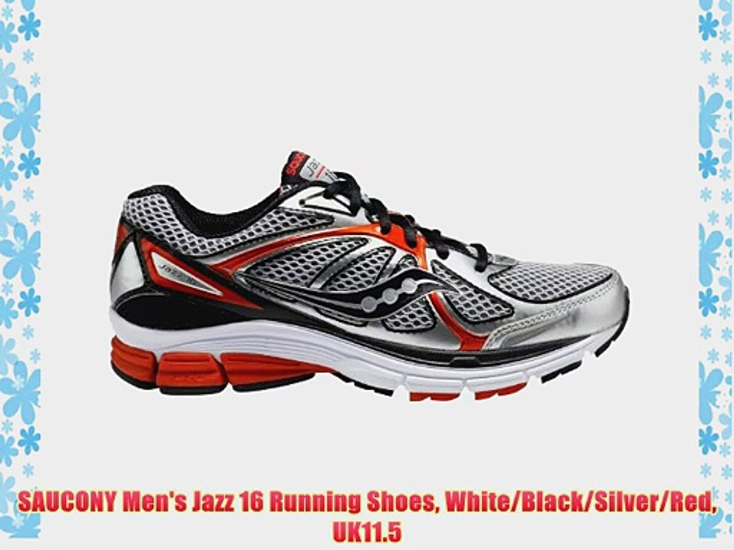 SAUCONY Men's Jazz 16 Running Shoes White/Black/Silver/Red UK11.5