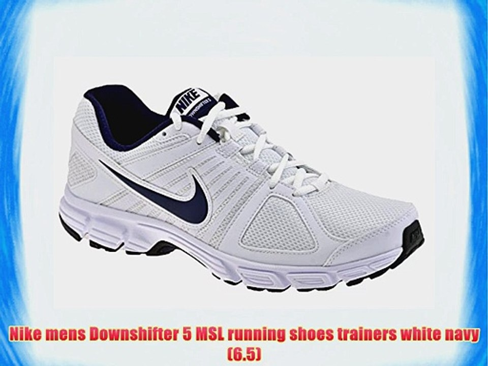 Nike mens Downshifter 5 MSL running shoes trainers white navy (6.5)