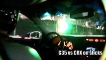 DRAG RACES! INFINITI G35 vs CRX, Mustang, EVO X, Camaro Z28