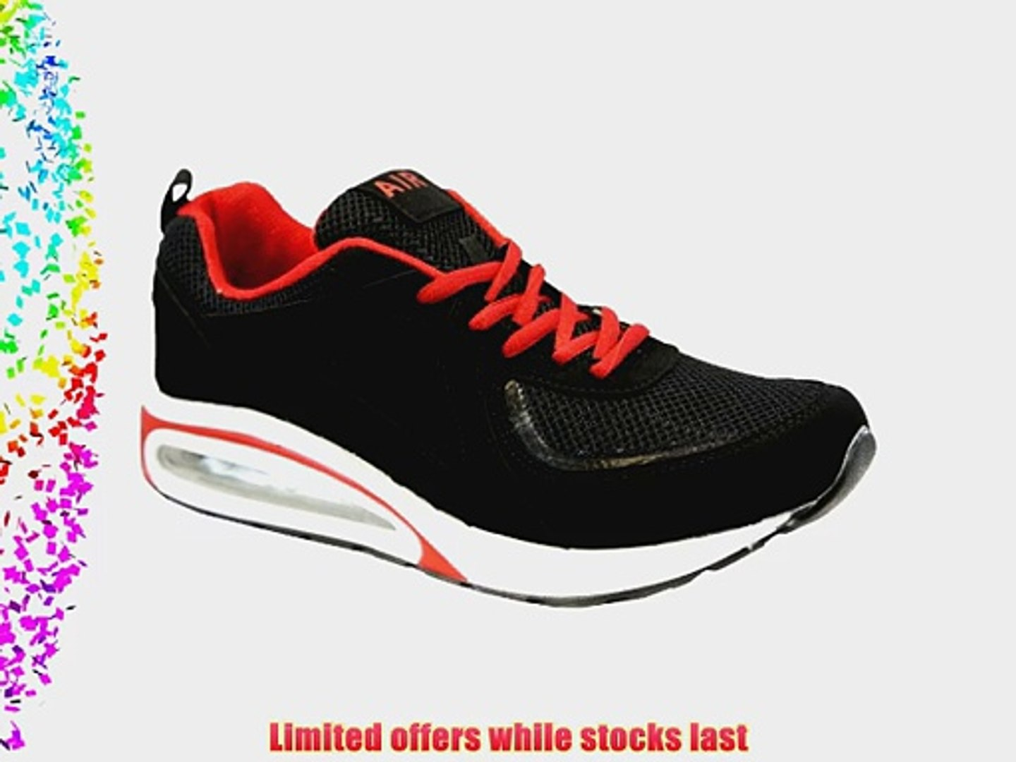 MENS RUNNING TRAINERS CASUAL LACE UP RUNNING GYM WALKING BOYS SPORTS SHOES SIZE (10 BLACK RED)