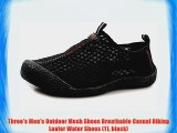 Three's Men's Outdoor Mesh Shoes Breathable Casual Hiking Loafer Water Shoes (11 black)