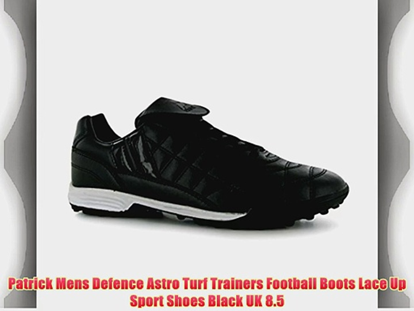 2eefdf8ff9c Patrick Mens Defence Astro Turf Trainers Football Boots Lace Up Sport Shoes  Black UK 8.5