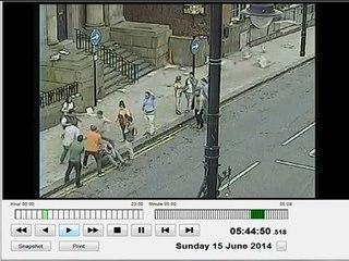 Street fight caught on Police CCTV .