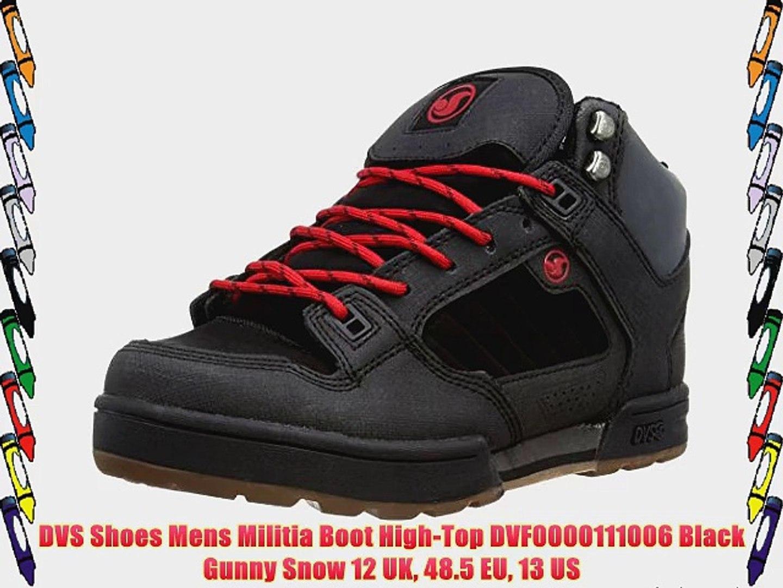 d13b9d981af DVS Shoes Mens Militia Boot High-Top DVF0000111006 Black Gunny Snow 12 UK  48.5 EU 13 US