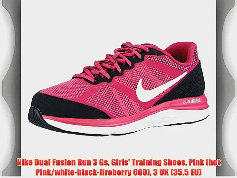 Nike Dual Fusion Run 3 Gs Girls' Training Shoes Pink (hot Pink/white-black-fireberry 600) 3