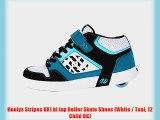 Heelys Stripes HX1 hi top Roller Skate Shoes (White / Teal 12 Child UK)