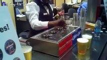 Maquina para llenar muchos vasos de cervezas   Machine to fill many glasses of beer