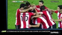 Un joueur de Bilbao marque du milieu de terrain face au FC Barcelone