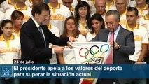 El presidente apela a los valores del deporte para superar la situación actual