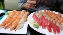 Dhirty SLAMS $300 / 55 Pieces of Nigiri Sushi in 3 MINUTES!!! SUSHI EATING CHALLENGE!!!