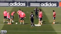 Cristiano Ronaldo tricks Martin Ødegaard with a dummy pass in Real Madrid C.F. training.