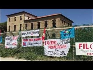 Crisi edilizia, protesta dei sindacati. Presidio davanti alla colonia Murri