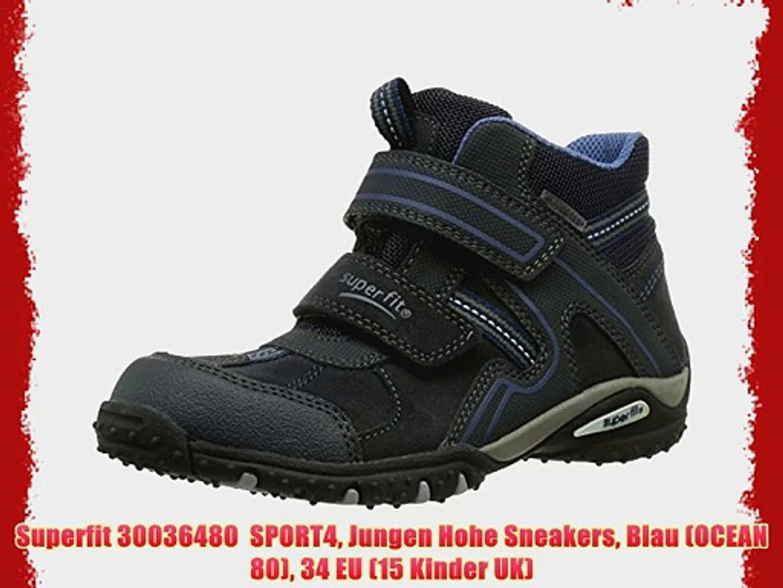 Superfit 30036480 SPORT4 Jungen Hohe Sneakers Blau (OCEAN 80) 34 EU (15 Kinder UK)