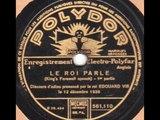 Le Roi Edouard VIII discours d'adieu 1936