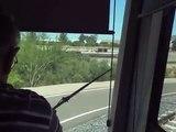 Phoenix METRO Light Rail ride around the yard loop-cab view