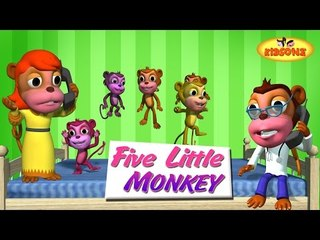 Five Little Monkeys Jumping On The Bed | Kids Nursery Rhymes | Childrens 3D Animation By KidsOne