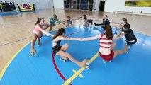 Entrainement de patinage artistique à roulettes à Mouvaux.
