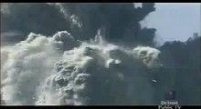 Closeup of debris hitting WTC 7 and core of WTC 1