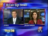 Obama Zombie Caught Stealing McCain-Palin Sign?
