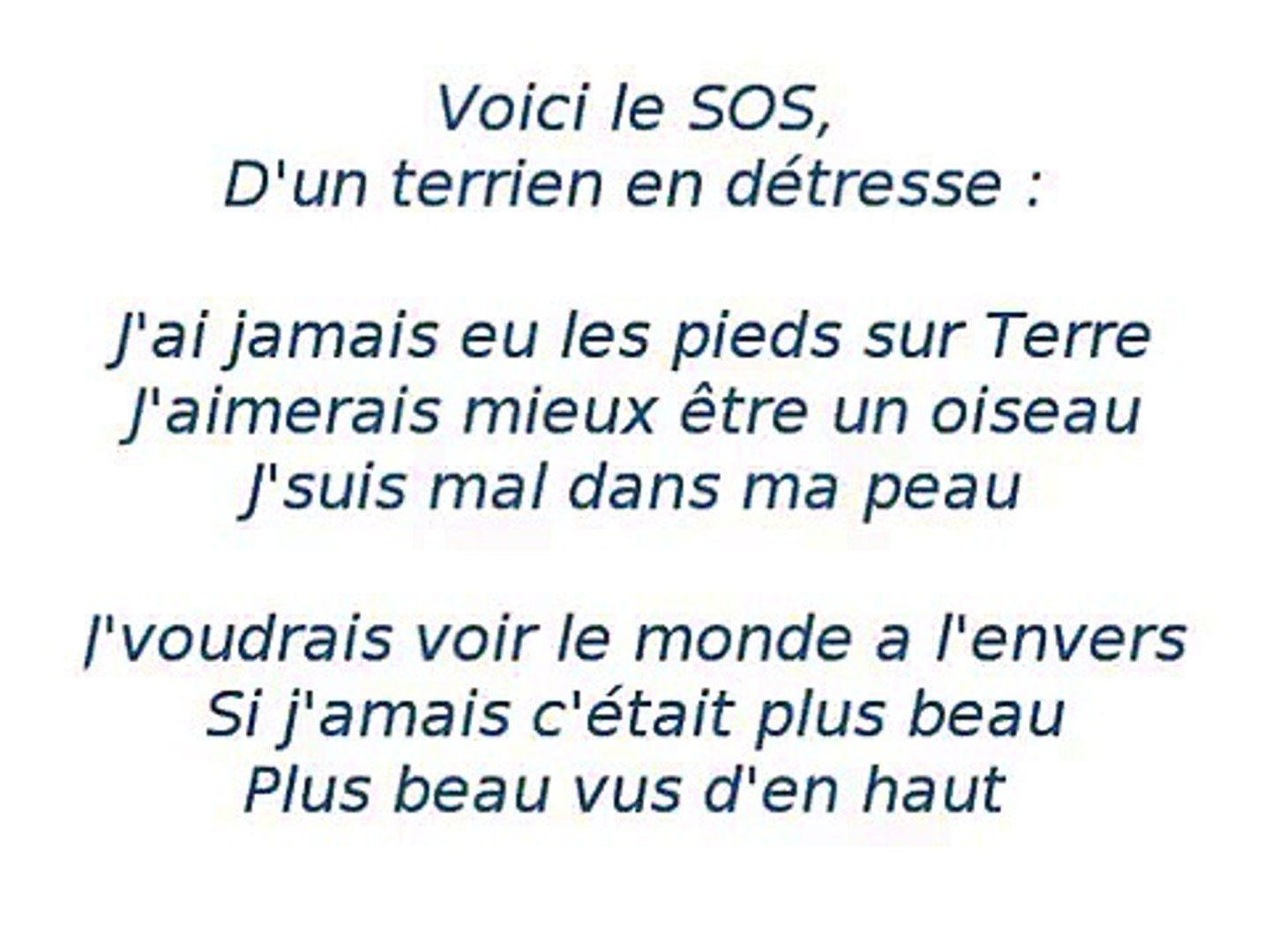 Grégory Lemarchal Sos D Un Terrien Détresse Lyrics Video Dailymotion